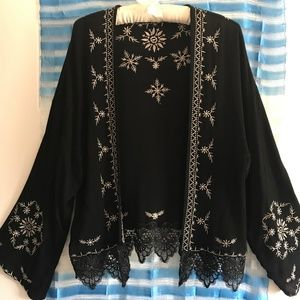 Sweaters - CARDIGAN/JACKET- light weight- black embroidered